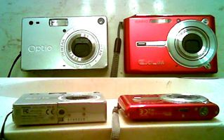 Pentax Optio S VS Casio Exilim S600 side by side