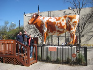 With UT's mascot Bevo (right)