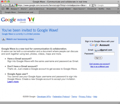 Google Wave invitation screen