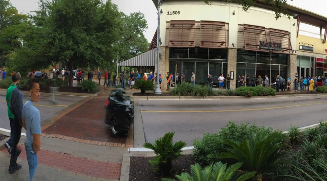 This is a panorama I shot of the line outside of the Apple Store at The Domain (left).